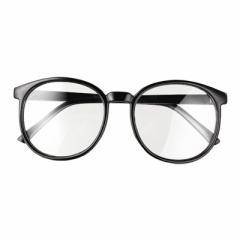 ブラック/大きめフレームだてメガネ