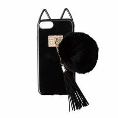 黒/ファーつき猫のiPhone7用カバー