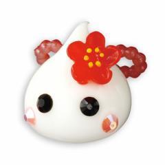 白/梅の花つきほっぺちゃんオブジェ
