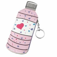 ピンク/ハート柄ペットボトル型ポーチ