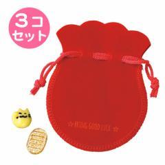 招き猫に小判/赤巾着付きミニオブジェセット