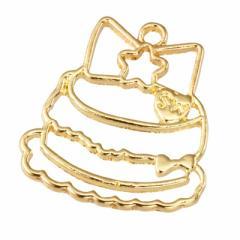 金色/レジン用リボン付きケーキフレームパーツ