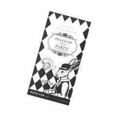 モノクロ/ワンダーウサギ柄短冊型メモ帳