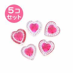 桃/キラキラハートストーンのシール5個セット
