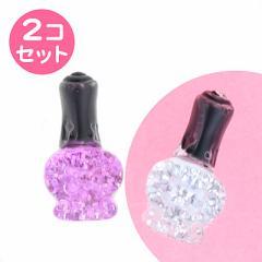 銀色&紫/マニキュア型プッシュピン2個セット