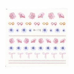 手書き風お花とリボンのウォーターネイルシール