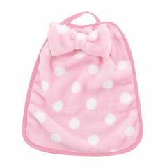 ピンク/ドットの大きなリボンつきループタオル