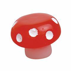 赤/ドット柄キノコの椅子オブジェ