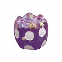 紫ドット柄/ラメ入り卵のオブジェ