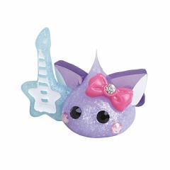 紫パールラメネコ耳星型ギター持ちほっぺちゃんオブジェ