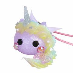 ラメ紫/ユニコーンデカほっぺちゃんストラップ