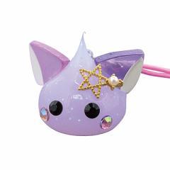 ラメ紫/金色の星付きネコ耳ほっぺちゃんストラップ