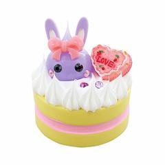紫/白いケーキ乗りウサ耳ほっぺちゃんオブジェ