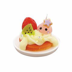 ラメ桃/果物パンケーキ乗ミニほっぺちゃんオブジェ