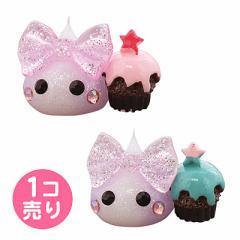 ラメ白&紫/ケーキ持ほっぺちゃんオブジェ/1個売
