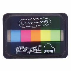 黒/ピアノ柄5色入蛍光貼ってはがせるメモ