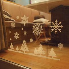 雪の結晶&ツリー柄ウインドウステッカー