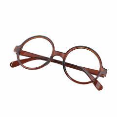 茶/丸型レンズなしだてメガネ