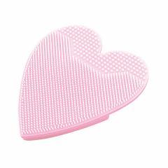 ピンク/ハート型洗顔用マッサージブラシ