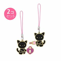 黒ネコ/カギモチーフペアストラップ
