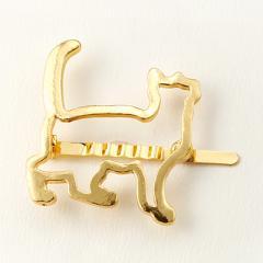 ネコ/ゴールドカラーアニマルフレームマグネットヘアピン