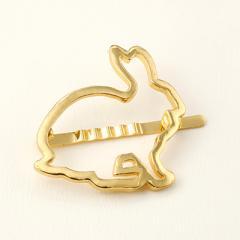 ウサギ/ゴールドカラーアニマルフレームマグネットヘアピン