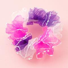 ピンク&紫&白/キラキラフリルのオーガンジーシュシュ