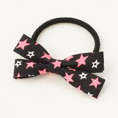 黒/ピンクと白の星柄クロスリボンヘアゴム