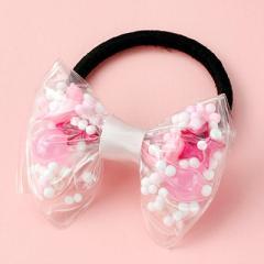 ピンク/ビーズ入ビニール素材リボンのヘアゴム
