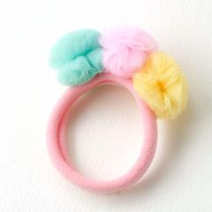 ピンク/3色ポンポン付きヘアゴム/1個売り