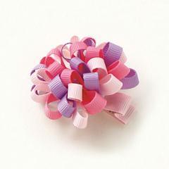 ピンク&紫/リボンのお花モチーフヘアクリップ