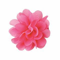 濃ピンク/シフォンお花モチーフのヘアクリップ