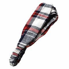 赤白黒チェックのクロスデザインヘアバンド
