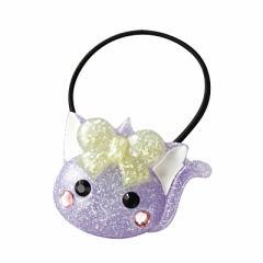 ラメ紫色/ネコ耳ほっぺちゃんヘアゴム