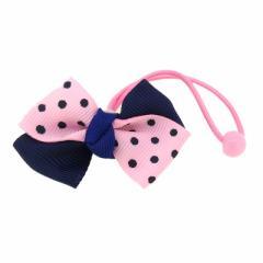 ピンク&紺/水玉ツートンカラーリボンヘアゴム