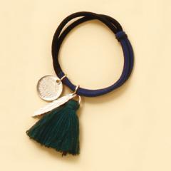 紺&黒/緑のタッセルとコインつきヘアゴム