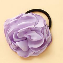 紫/大きめお花のヘアゴム