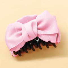 ピンク/ダブルリボンのヘアクリップ
