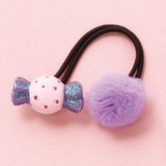 紫/ポンポンとキャンディのヘアゴム