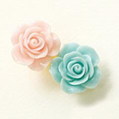 ミント&ピンク/バラのミニヘアクリップ