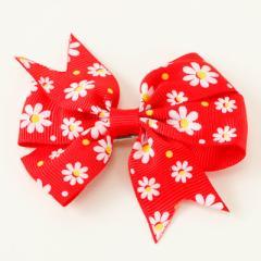 赤/花柄リボンヘアクリップ