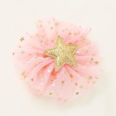 ピンク/ラメ星つきチュールヘアクリップ