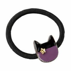 紫/金星つき猫フェイスプレートつきヘアゴム