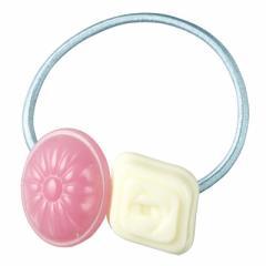 ピンク&白/ドロップ2個つきヘアゴム