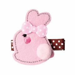 ピンク/うさぎのヘアクリップ