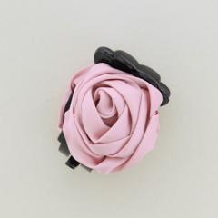 ピンク/立体バラのバンスクリップ