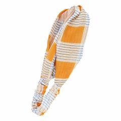 橙&白&水色/オシャレチェック柄ヘアバンド