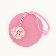 ピンクとアイボリー/レースのお花ヘアゴム