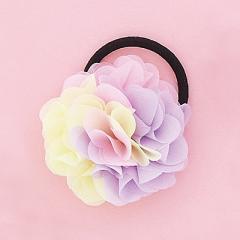 黄色&ピンク&紫/トライカラーのお花ヘアゴム