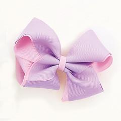 紫&ピンク/バイカラー立体リボンヘアクリップ